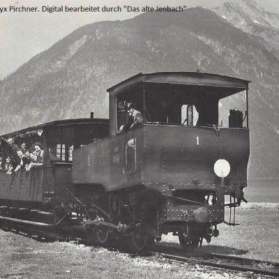 Die Achenseebahn im Jahr 1916. Das Seeufer ist noch unverbaut. Vielen Dank an Frau Beatryx Pirchner für das tolle Foto.