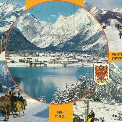 Werbung für den Wintersportort Pertisau am Achensee im Jahr 1970.