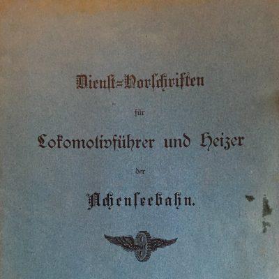 Die Dienstvorschriften stammen aus dem Jahr 1894.