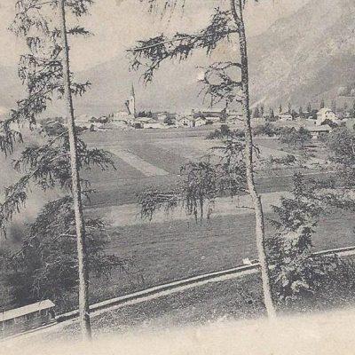 Ansicht auf Jenbach mit Achenseebahn im Jahr 1915.