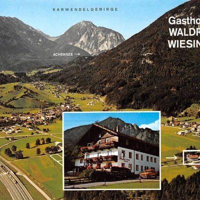 Der Gasthof Waldruh in Wiesing mit Blick Richtung Achensee in den 70er Jahren.