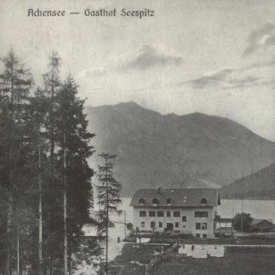 Ansicht auf das Gasthaus am Seespitz (Achensee) in den 1920er Jahren.