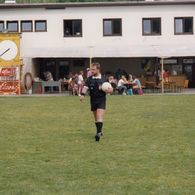 Das alte Fußballstadion des SK Jenbach im Jahr 1993. Das Gebäude existiert heute noch.